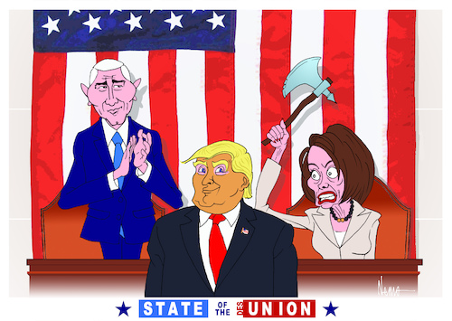 Cartoon: State of the Desunion (medium) by NEM0 tagged state,of,the,union,adress,donald,trump,nancy,pelosi,pence,president,congress,desunion,axe,divide,divisive,us,usa,potus,united,states,nemo,nem0,state,of,the,union,adress,donald,trump,nancy,pelosi,pence,president,congress,desunion,axe,divide,divisive,us,usa,potus,united,states,nemo,nem0