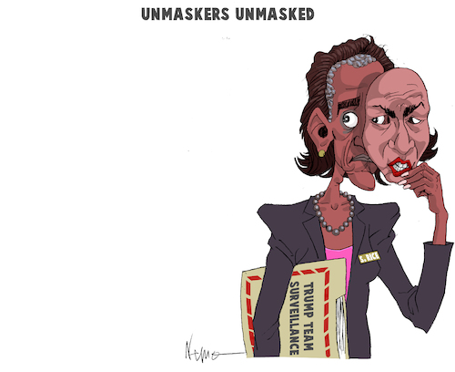 Cartoon: UNMASKED (medium) by NEM0 tagged barack,obama,susan,rice,trump,team,surveillance,spy,spying,russia,russian,investigation,mask,unmask,nemo,nem0,barack,obama,susan,rice,trump,team,surveillance,spy,spying,russia,russian,investigation,mask,unmask