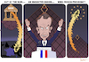 Cartoon: A Rookie Wins French Presidency (small) by NEM0 tagged emmanuel,macron,france,president,french,elections,paris,pyramid,louvre,banker,rothchild,bank,eu,europe,nemo,nem0