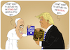 Cartoon: Trump Trumps the Pope (small) by NEM0 tagged donald,trump,pope,francis,beroglio,mlk,civil,rights,movementclimate,change,martin,luther,king,religion,science,catholic,christian,protestant,lutherian,reform,reformist,baptist,vatican,italy,rome,book,gift