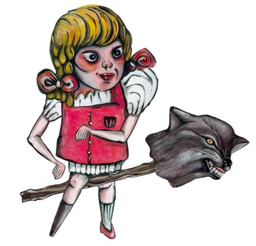Cartoon: evil gretel (medium) by Battlestar tagged hänsel,gretel,märchen,fairytale,murderous,wolf,holzbein
