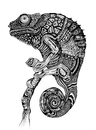 Cartoon: Chameleon (small) by Battlestar tagged animal,tiere,chamäleon,chameleon,blackandwhite,drawing,zeichnung,illustration,nature,natur,exotic