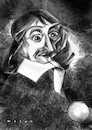 Cartoon: Descartes (small) by Wesam Khalil tagged method,doubt,subjectivity,normals,analytic,geometry,cartesian,coordinate,system,dualism,interactionism,foundationalism,mathesis,universalis,folium,of,descartes,dream,argument,evil,demon,conservation,momentum,caricature