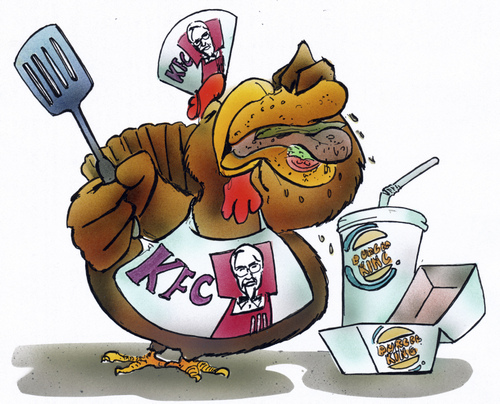 Funny Kentucky Fried Chicken: Media & Culture Cartoon