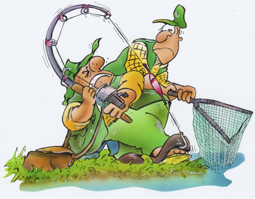 Cartoon fisherman fishing - photo#11