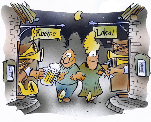 Cartoon: Germany in the afternoon (medium) by HSB-Cartoon tagged bar,pub,inn,night,people,afternoon,beer,vin,vine,music,moon,lokal,kneipe,bier,wein,musik,cartoon,karikatur,caricature,airbrush,hsbcartoon,lokal,kneipe,bier,wein,musik,nachtleben,alkohol,trinken,feiern,feier,party,freizeit,kultur,deutschland