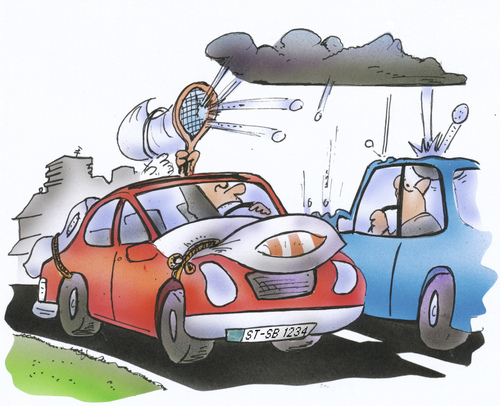 Cartoon: hail protection for cars (medium) by HSB-Cartoon tagged hail,rain,rainshower,weather,storm,car,street,vehicle,tennis,driver,cushion,auto,kissen,strasse,wetter,hagel,sturm,unwetter,regen,hsb,cartoon,airbrush,wetter,regen,verkehr