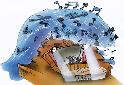 Cartoon: Music  Wave (medium) by HSB-Cartoon tagged music,wave,sound,guitar,stage,town,water,cartoon,caricature,airbrush