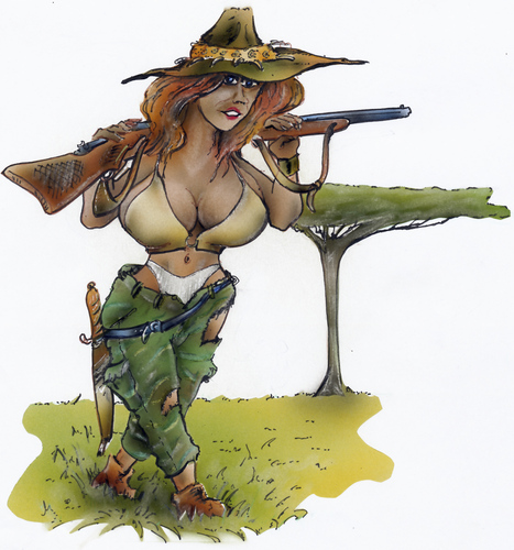 Image result for woman hunter cartoon