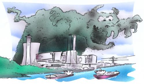 Cartoon: smog (medium) by HSB-Cartoon tagged industry,smog,smoke ...