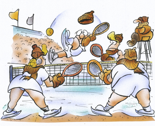 Cartoon: Sport bei Frost (medium) by HSB-Cartoon tagged winter,frost,eis,tennis,sport,sportart,tennisball,kälte,tennisplatz,cartoon,caricature,airbrush,winter,frost,eis,tennis,sport,sportart,tennisball,kälte,tennisplatz