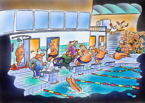 Swimming By Hsb Cartoon Sports Cartoon Toonpool
