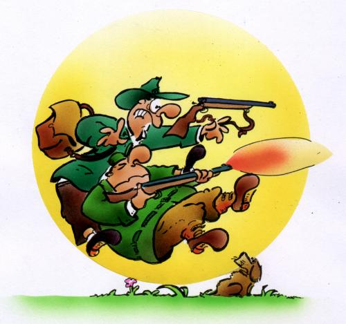 Cartoon waidmanns heil medium by hsb cartoon tagged jagd waffen