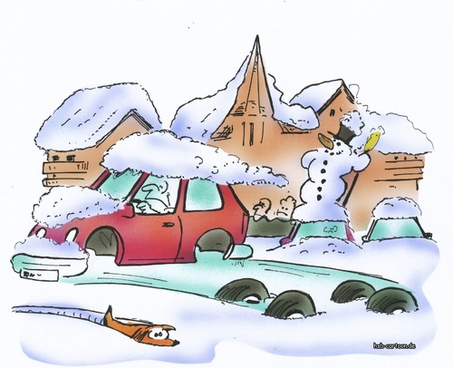 Cartoon: winter tyre (medium) by HSB-Cartoon tagged tyre,tire,winter,winterreifen,strasse,belag,stadt,schnee,eis,car,auto,cartoon,caricature,karikatur,hsbcartoon,airbrush,winter,winterreifen,strasse,schnee,frost,verkehr