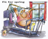 Cartoon: fit for spring (small) by HSB-Cartoon tagged fit,fitness,gym,sport,spring,hantel,walking,cartoon,caricature,airbrush