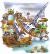 Cartoon: overloaded sailingboat (small) by HSB-Cartoon tagged sailing,sailingboat,yacht,charterboat,ship,ocean,sea,harbour,port,charge,skipper,schiff,boot,segeln,segelschiff,hafen,kaiairbrush