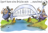 Cartoon: Sport can be a bridge (small) by HSB-Cartoon tagged brücke,brigde,sport,soccer,fußball,fußballspieler,spieler,goal,player,tor,ball,river,fair,fairness,cartoon,caricature,karikatur,airbrush