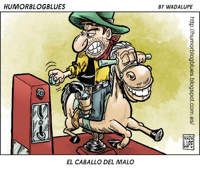 Cartoon: ser malo sale caro (medium) by Wadalupe tagged oeste,western,malo,jinete,cowboy,dinero,monedas