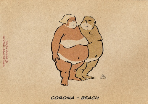 Cartoon: Corona Beach (medium) by Guido Kuehn tagged corona,covid19,pandemia
