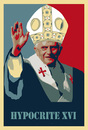 Cartoon: Hypocrite XVI (small) by poleev tagged pope,benedict,xvi,benedikt,ratzinger