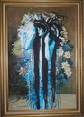 Cartoon: Indiga (small) by joellestoret tagged flower,vase,repainted,blue,figure,female,surreal