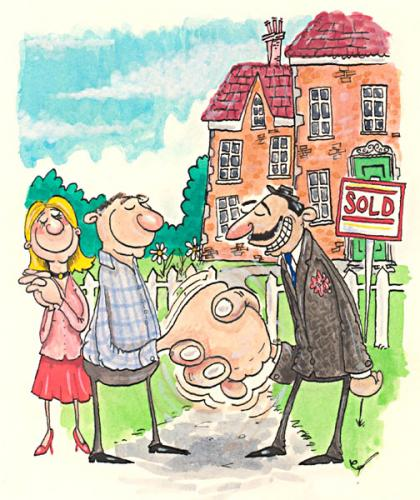 Cartoon: Estate Agent (medium) by dotmund tagged estate,agent,house,buyers