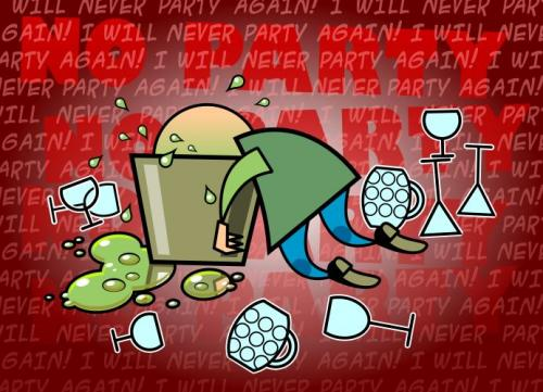 Cartoon: No Party (medium) by gnurf tagged hangover,puke,drinks,party,bucket