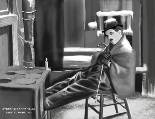 Cartoon: Charlie Chaplin (medium) by carparelli tagged digital,painting