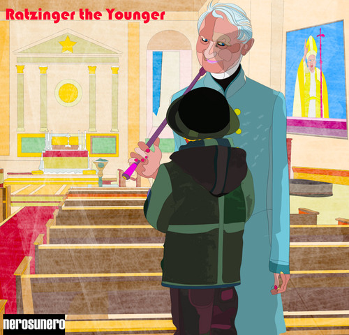 Cartoon: Ratzinger the Younger (medium) by nerosunero tagged ratzinger,pope,abuse,children