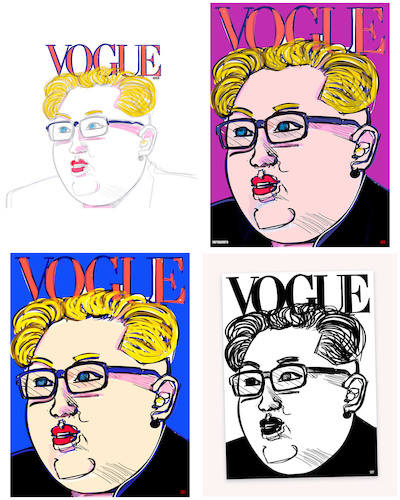 Cartoon: The Fashion of Our Times (medium) by nerosunero tagged war,peace,fashion,leaders,korea,northkorea,vogue,trump,kimjongun