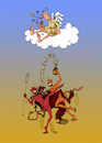 Cartoon: Himmel oder Hölle? (small) by Tim Posern tagged engel,teufel,himmel,hölle,angel,devil,heaven,hell,feier,sekt,champagner