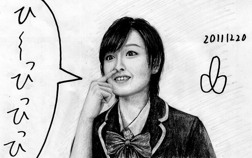 Cartoon: Morning Musume member (medium) by Teruo Arima tagged girl,chinko,manko,pokochin,japanese,idol,singer,famous