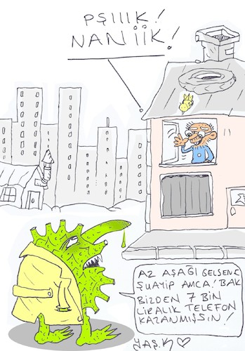 Cartoon: dont go out (medium) by yasar kemal turan tagged dont,go,out