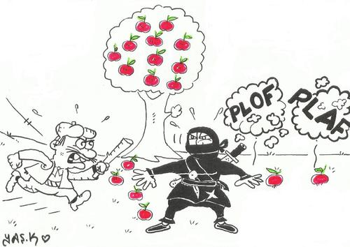 Cartoon: Farmer and Ninja (medium) by yasar kemal turan tagged ninja,and,farmer