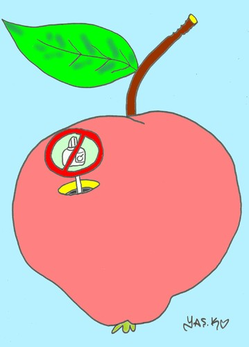 Cartoon: no drug (medium) by yasar kemal turan tagged drug,apple,fruit,founded,vegetables,organic