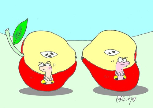 Cartoon: offended (medium) by yasar kemal turan tagged love,peace,make,apple,worm,offended