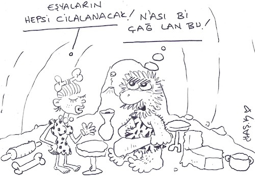 Cartoon: polished stone age (medium) by yasar kemal turan tagged polished,stone,age