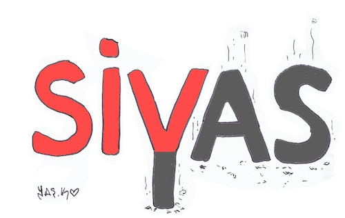 Cartoon: Sivas massacre (medium) by yasar kemal turan tagged sivas,massacre