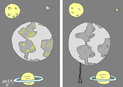 Cartoon: The lights of the Earth (medium) by yasar kemal turan tagged earth,the