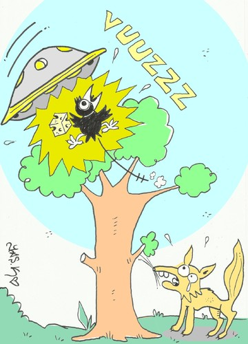Cartoon: ufo attack-kidnap-love (medium) by yasar kemal turan tagged love,kidnap,cheese,fox,crow,attack,ufo