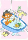 Cartoon: Obama s nightmare (small) by yasar kemal turan tagged bathroom,nightmare,laden,bin,osama,obama,fish,hunt,surprise,jaws