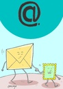 Cartoon: at sign (small) by yasar kemal turan tagged leave,love,letter,stamp,computer,internet,at,sign