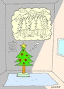 Cartoon: longing (small) by yasar kemal turan tagged christmas tree love longing forest