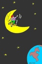 Cartoon: excitement (small) by yasar kemal turan tagged skateboard,love,moon,world