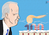 Cartoon: 100 days (small) by Emanuele Del Rosso tagged biden,trump,usa