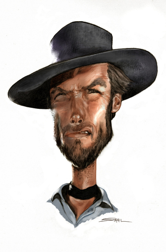 Cartoon clint eastwood medium by jeff stahl tagged clint eastwood
