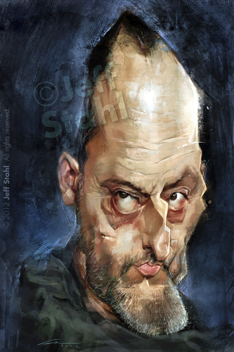 Cartoon: Jean Reno by Jeff Stahl (medium) by Jeff Stahl tagged jean,reno,leon,french,actor,caricature,illustration,jeff,stahl,digital,painting