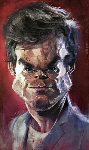 Cartoon: Michael C. Hall (medium) by Jeff Stahl tagged freelance,stahl,jeff,wacom,painting,digital,illustration,caricature,actor,dexter,hall,michael