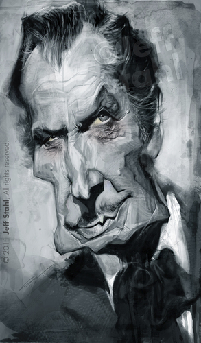 Cartoon: Vincent Price by Jeff Stahl (medium) by Jeff Stahl tagged vincent,price,horror,movie,actor,gothic,digital,painting,caricature,illustration,jeff,stahl