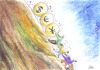 Cartoon: DESCENT (small) by aungminmin tagged cartoon money people humour financial crisis